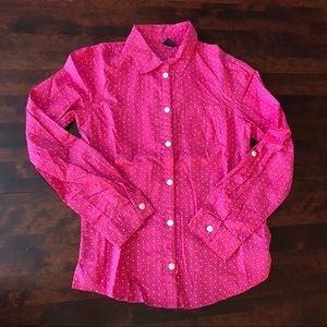 12/13 Gap pink & white polka dot shirt